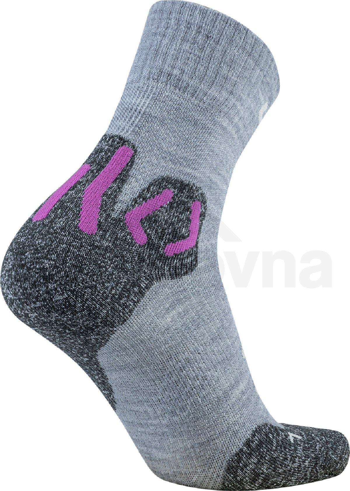 Dámské ponožky UYN Trekking Approach Merino Mid Socks W - šedá/růžová