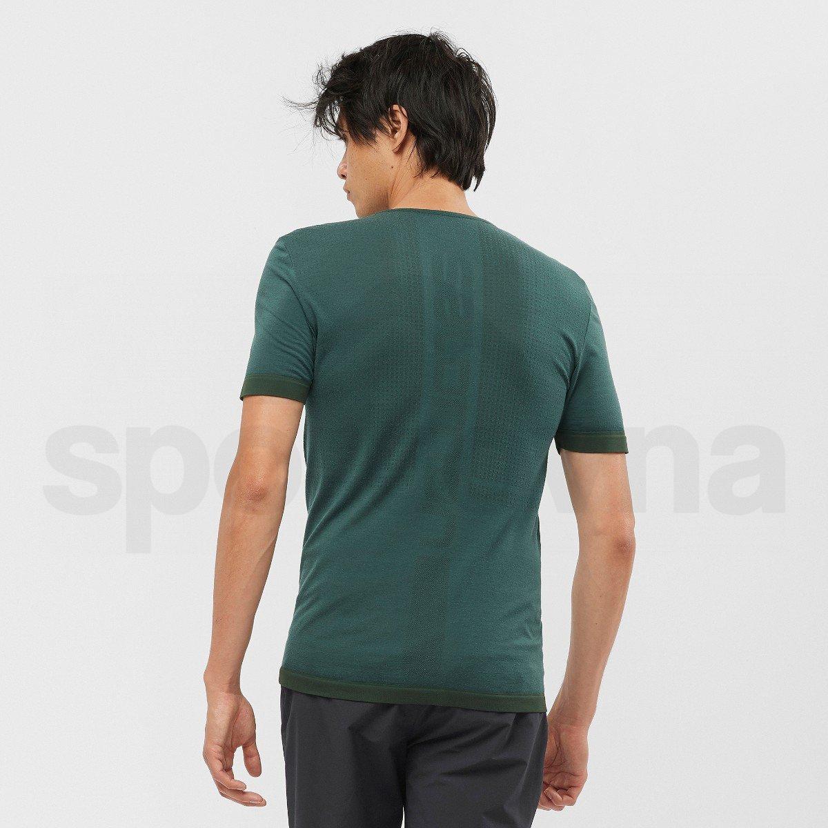 Tričko Salomon OUTSPEED SEAMLESS WOOL TE M - tmavě zelená