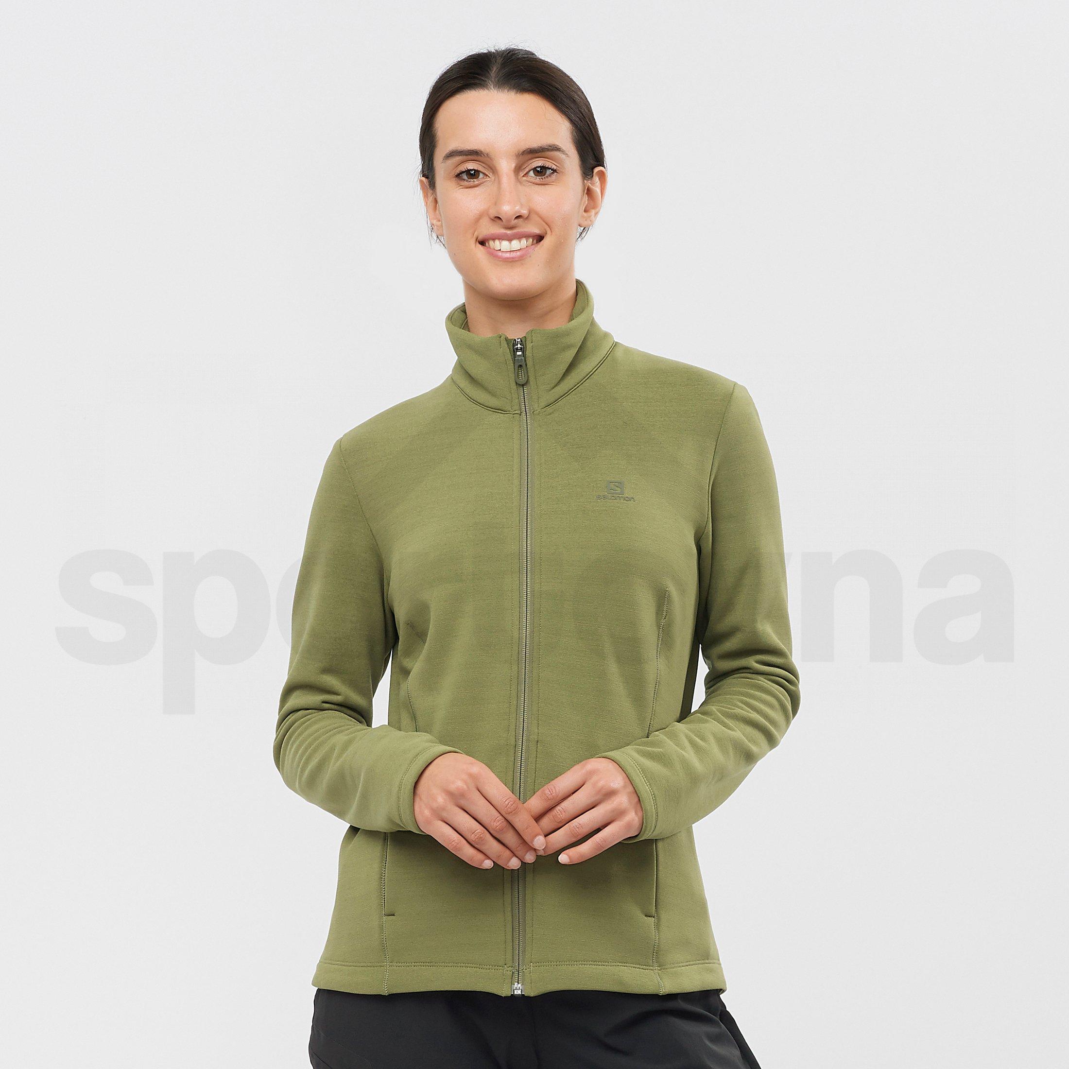 Mikina Salomon Radiant Full Zip Midlayer W - zelená