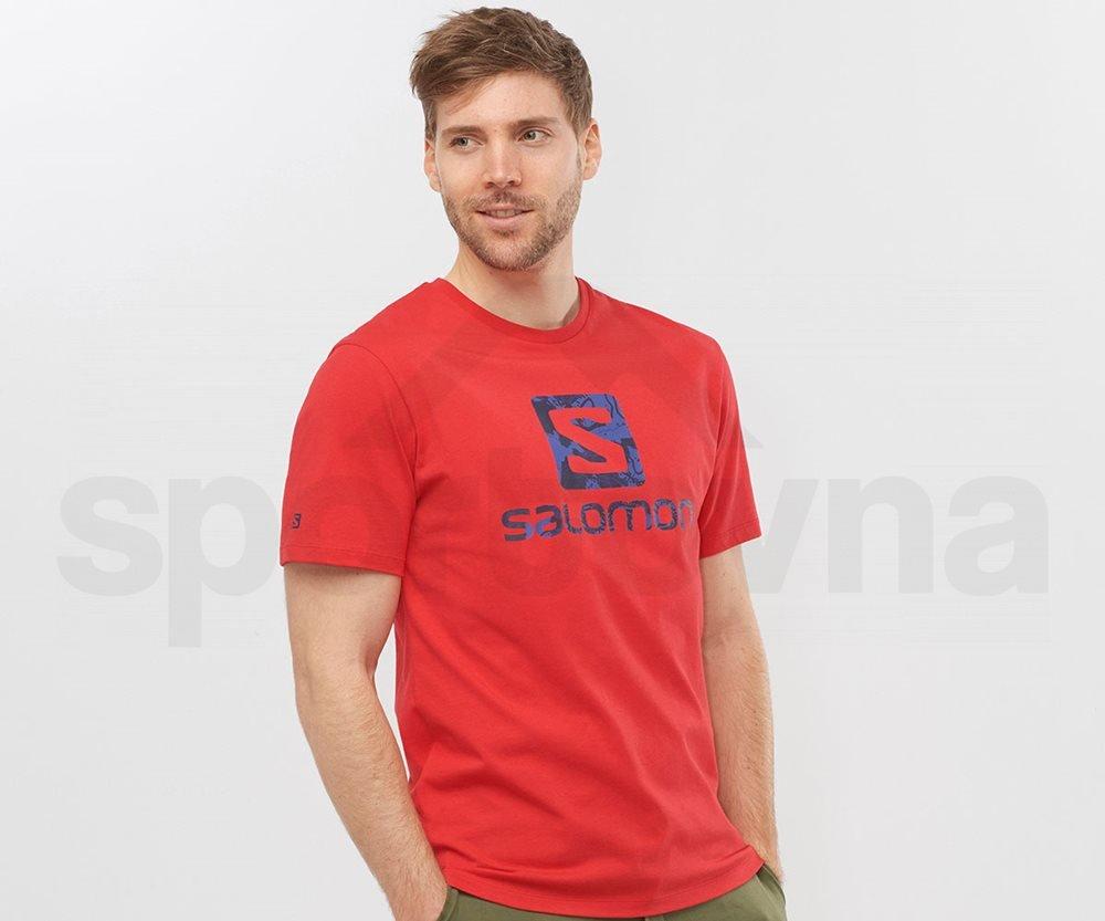 Tričko Salomon OUTLIFE LOGO SS TEE M - tmavě červená