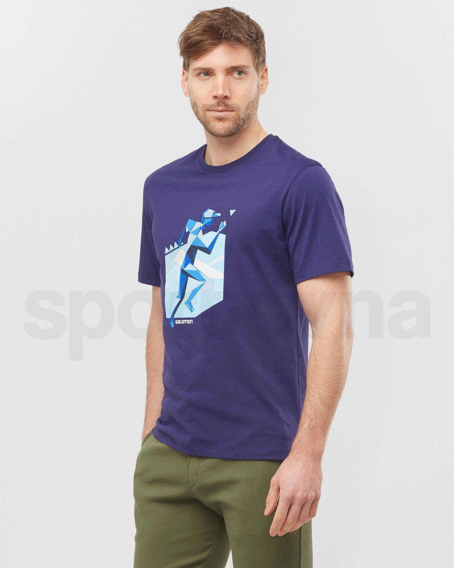 Tričko Salomon OUTLIFE GRAPHIC GEO RUNNER M - tmavě modrá