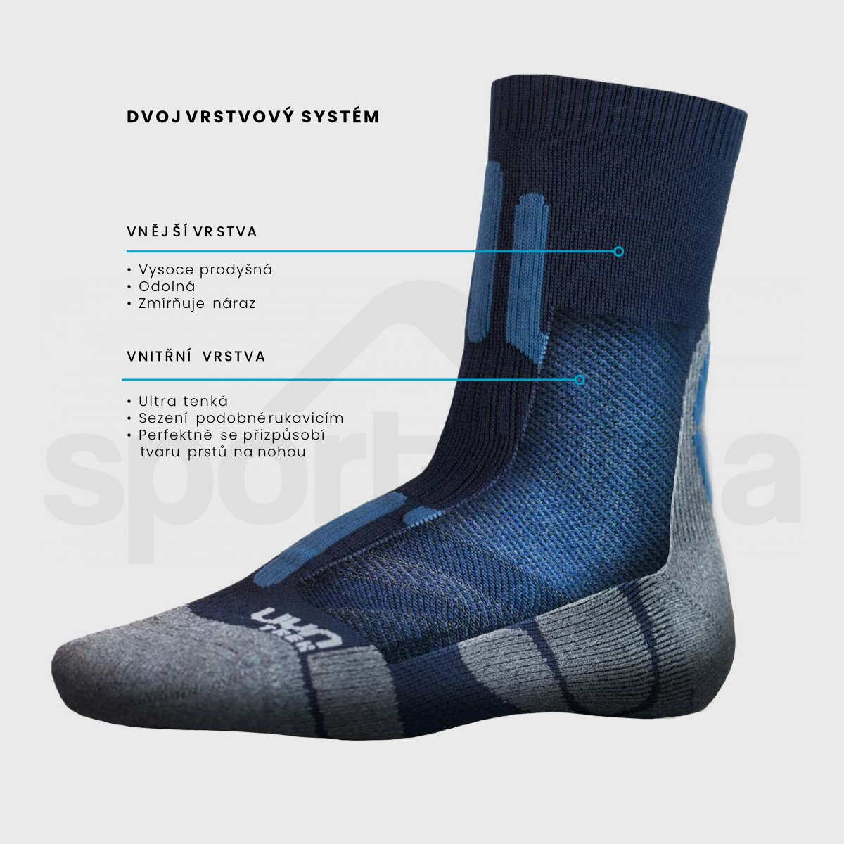 Pánské ponožky UYN TREKKING 2IN LOW CUT SOCKS - šedá