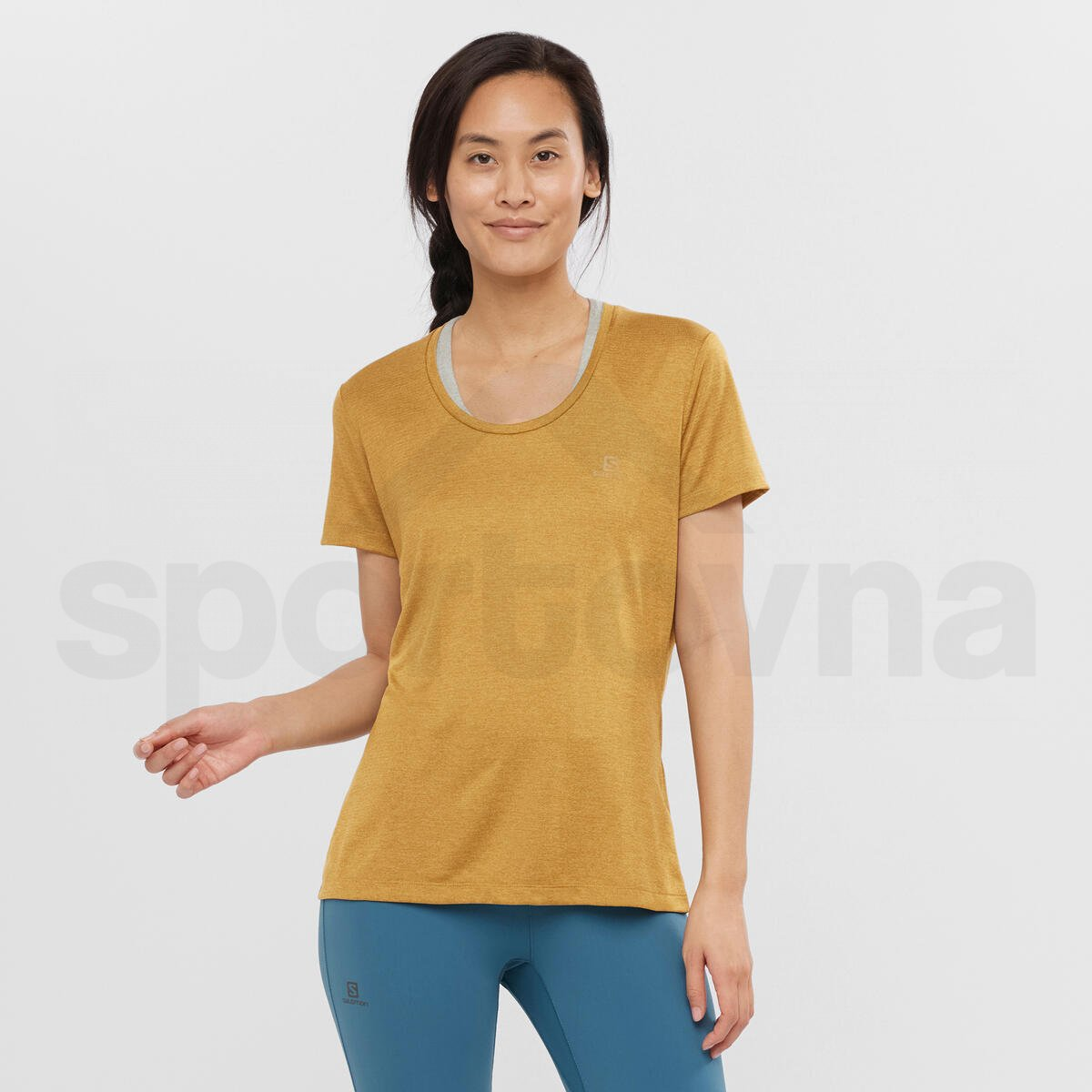 Tričko Salomon AGILE SS TEE W - žlutá/hnědá