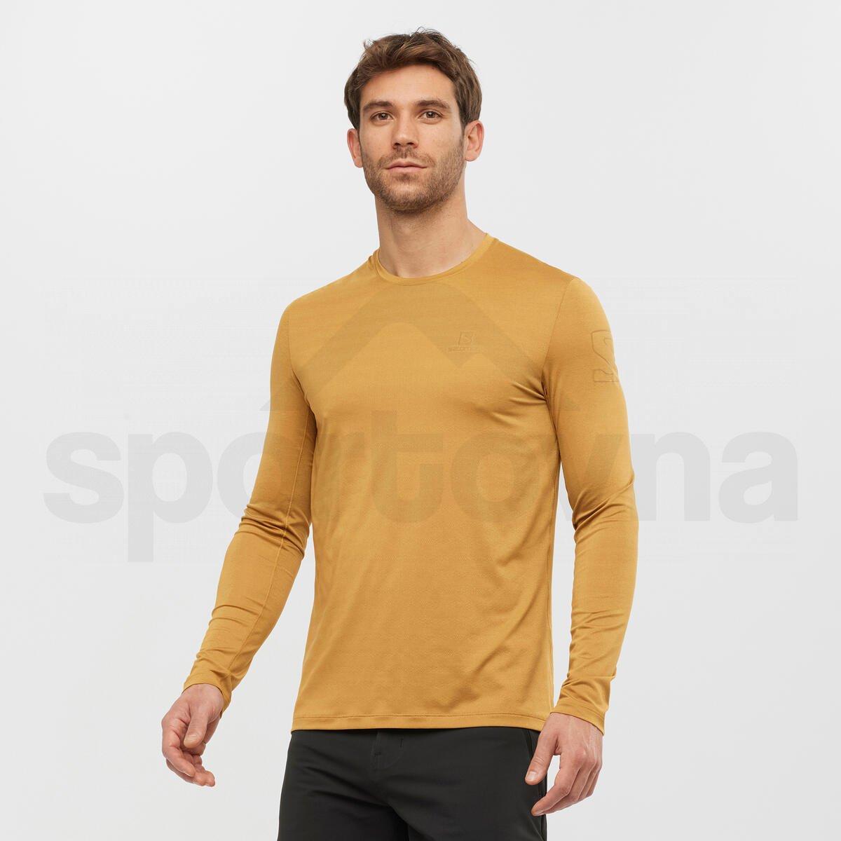Tričko Salomon XA LONG SLEEVE TEE M - hnědá/žlutá